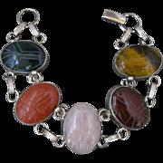 Vintage Large Sterling Silver And Stone Scarab Link Bracelet