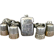 SALE Vintage Sterling Silver And Gold Thimbles And Match Safe Bracelet