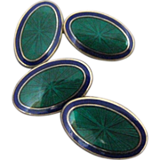 Art Deco Inspired Guilloche Enamel Vermeil Sterling Double Sided Cufflinks