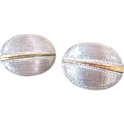 Vintage Silver and Gold Vermeil Oval Cufflinks