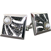 Vintage Sterling Silver And Cultured Pearl Modernist Textured Cufflinks