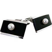 Vintage Sterling Silver Black Onyx And Cultured Pearl Cufflinks
