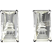 Vintage Crystal Quartz And Sterling Silver Pagoda Cufflinks