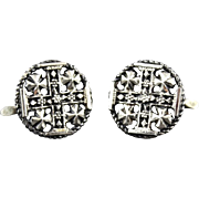 Vintage Handmade 900 Silver Jerusalem Cross Cufflinks