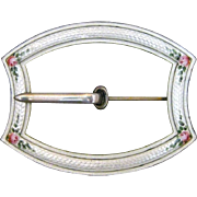 Vintage Sterling Silver Guilloche Enamel Buckle Style Sash Pin