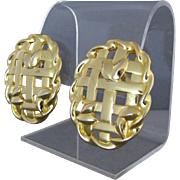 Vintage Givenchy Open Weave Gold Tone Pierced Earrings