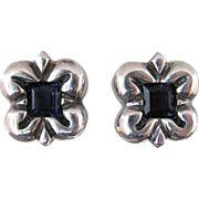 Zina Beverly Hills Sterling Silver Square Clip Back Earrings