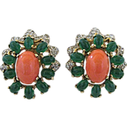 Vintage Jomaz Faux Jade, Coral And Rhinestone Clip Back Earrings