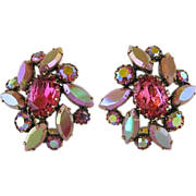 Vintage Schiaparelli Large Pink Rhinestone And Glass Clip Back Earrings