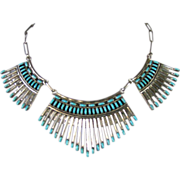 Vintage Zuni Silver And Turquoise Petit Point Choker Necklace