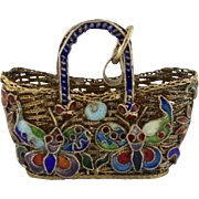 Vintage Chinese Export Silver Cloisonne Basket With Butterflies Pendant