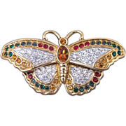 Vintage Swarovski Multi Colored Rhinestone Butterfly Pin