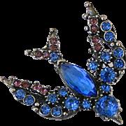 Vintage Florenza Blue Swallow Rhinestone Trembler Pin
