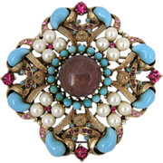Vintage R Mandle Rhinestone Lucite Faux Pearl And Art Glass Pin