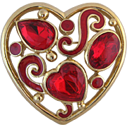 Vintage Trifari Gold Tone And Red Lucite Heart Pin