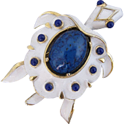 Vintage Trifari White Enamel and Blue Lucite Turtle Pin