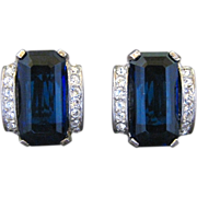 Vintage Trifari Sterling Silver Blue Crystal And Rhinestone Clip Back Earrings