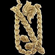 Vintage Trifari Stylized Leaf Necklace Bracelet Earring And Pin Grand Parure Set