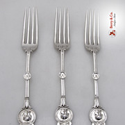 Medallion Dessert Forks 3 Schulz and Fischer Sterling 1895 SAS