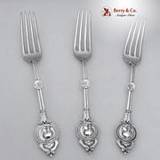 Medallion Dessert Forks 3 Schulz and Fischer Coin Silver 1870