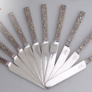 SOLD Square Handle Repousse 10 Flat Breakfast Knives S Kirk And Son 10 15 Mark Coin Silver