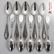 Arabesque 12 Teaspoons Whiting Sterling Silver 1875