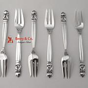 Acorn Condiment Forks 8 Sterling Silver Georg Jensen