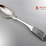 Basket of Flowers Teaspoon Coin Silver 1831 Monogram EAL