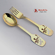 Christmas Spoon and Fork 1960s Michelsen Sterling Silver