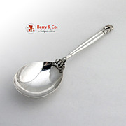 Acorn Hammered Serving Spoon Georg Jensen Sterling Silver 1945