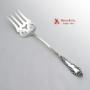 LaFayette Chipped Beef Fork Baker Manchester Sterling Silver 1898 No Monograms