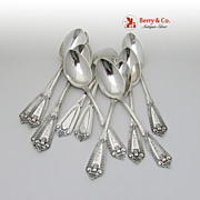 Ivy with Face 11 Teaspoons Sterling Silver Whiting Hebbard