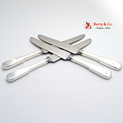 Fiddleback 4 Knives Sterling Silver Old Newbury Crafters