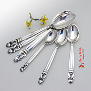 Acorn 6 Spoons Georg Jensen Sterling Silver