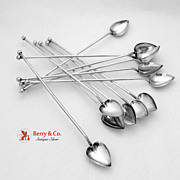 SALE PENDING Vintage Heart 12 Ice Tea Straws Sterling Silver Wallace