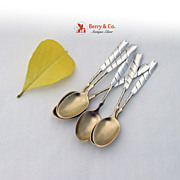 Sectioned Twist Handle Demitasse Spoons 6 Sterling Silver 1885 No Monograms