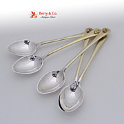 Gold Nugget Demitasse Spoons 5 Sterling Silver 1900