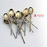 Set of 12 Sterling Silver Gilt Anointing Spoons Demitasse Spoons