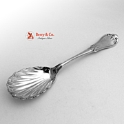 Fleur-de-Lis Serving Spoon Shell Bowl Coin Silver 1860