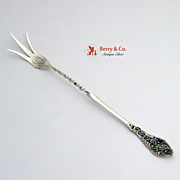 Trianon Pierced Lettuce Fork Sterling Silver Enamel Dominick and Haff 1887