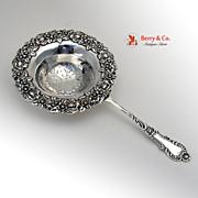 Tea Strainer Floral Baroque Crystal Frank Smith 1895 Sterling Silver