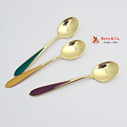 SALE PENDING Guilloche Enamel Demitasse Spoons Red Yellow Green N M Thune Sterling Silver
