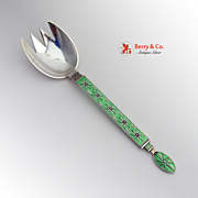 Medium Serving Fork Sterling Silver Green Enamel Tostrup