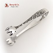 Repousse Sugar Tongs Floral Sterling Silver