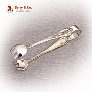 Rose Point Sugar Tongs Wallace 1934 Sterling Silver