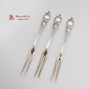 Set Of 3 Navarre Strawberry Forks Sterling Silver A F Towle 1893