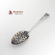 Georgian Ornate Repousse Berry Spoon Sterling Silver Peter Ann Bateman 1798
