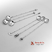 Figural Bamboo Iced Tea Spoons Japanese 950 Sterling Silver 6 Pieces 1960