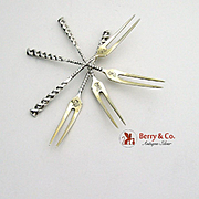 Square Twist Strawberry Forks Sterling Silver 4 Pieces Whiting 1885