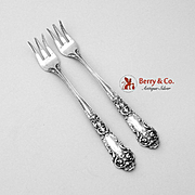 French Renaissance Cocktail Oyster Forks Sterling Silver Pair Reed Barton 1941